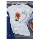 Baseball Mom Letter Sunflower Printed Round Neck Short Sleeve Gray Tee