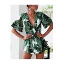Summer Stylish Green Leaf Printed V-Neck Tied Waist Chiffon Romper for Women