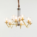 Ridged Glass Metal Chandelier 9/12 Lights Classic Candle Hanging Light for Living Room Study