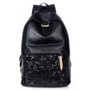 Fashion Solid Color Sequin Patched Black PU Leather Backpack