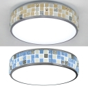 Mediterranean Style Drum Ceiling Light Acrylic 1 Light Flush Mount Light in Blue/Yellow