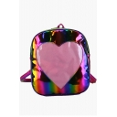 New Collection Heart Pattern Colorful Laser Backpack for Girls 25*10*31 CM