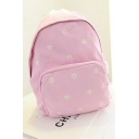 Summer Fashion Floral Embroidery Pattern Canvas School Bag Backpack 30*12*37 CM