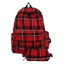 Unisex Popular Plaid Pattern Canvas School Bag Backpack Bookbag 30*13*42 CM