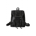 Trendy Solid Color Crisscross Tie Tassel Designed PU Leather College Bag Casual Backpack 25*16*29 CM