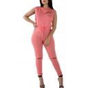 New Trendy Solid Color Sleeveless Zip Ripped Skinny Pants Jumpsuits