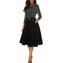 New Fashion Polka Dot Printed Three-Quarter Sleeve Bow-Tied Collar Midi A-Line Swing Dress for Women