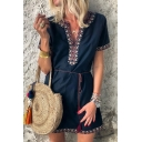 Women's Summer Tribal Printed Hem V-Neck Short Sleeve Tied Waist Mini A-Line Navy Dress