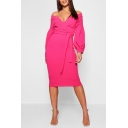 Ladies Vintage Plunged V-Neck Long Sleeve Solid Color Tied Waist Midi Pencil Dress
