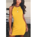 Summer Girls Cool Street Fashion Halter Neck Solid Color Mini Bodycon Cami Dress