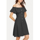 Womens Simple Plain Off the Shoulder Ruffled Hem Button Down Mini A-Line Dress