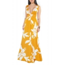 Women's Sexy V-Neck Sleeveless Floral Backless Maxi Casual Dress