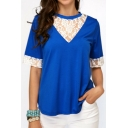 Summer Popular Lace Trimmed Round Neck Short Sleeve Womens Plain Loose Tee
