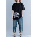 Women's Leopard Printed Round Neck Short Sleeve Black Plus Size Tee