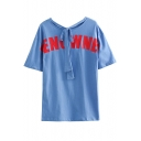 Women's ENO WNE Letter Printed Short Sleeve Bow-Tied Round Neck Casual Blue Tee