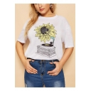 Women's Relaxed Round Neck Short Sleeve Sunflower Floral Print White T-Shirt