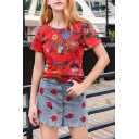 Summer Hot Fashion Floral Print Short Sleeve Round Neck Red T-Shirt