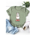 Women's Casual Letter Yoga Sheep Printed Round Neck Short Sleeve Cotton Graphic T-Shirt