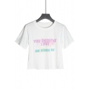 Women's Funny YOU DESERVE LOVE Letter Tie-dyed Printed Round Neck Short Sleeve Cropped White Tee