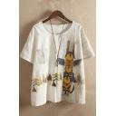 Women's Vintage Round Neck Short Sleeve Cartoon Print Stripes T-Shirt