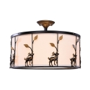 Office Drum Semi Flush Light with Deer Decoration Acrylic 5 Lights Rustic Ceiling Light