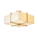 White Square Shade Semi Flushmount Ceiling 4 Lights Rustic Style Fabric Ceiling Light for Hotel