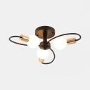 Creative Black Semi Flush Mount Light with Twist Arm 3/6/8 Lights Metal Ceiling Lamp for Bedroom