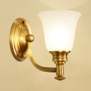 Frosted Glass Bell Shade Wall Lamp Bedroom Foyer 1/2 Lights Antique Style Sconce Light in Brass
