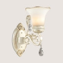 Glass Bell Shade Wall Sconce Dining Room 1/2 Lights Elegant Style Wall Light with Crystal in White