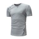 Men's Unique Plain V-Neck Short Sleeve Casual Button Side T-Shirt