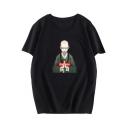 New Trendy Letter Monk Print Short Sleeve Round Neck Graphic T-Shirt For Men