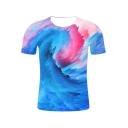 New Trendy 3D Tie-Dye Printed Basic Round Neck Short Sleeve Blue T-Shirt