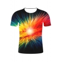 Men's Funny 3D Print Colorful Galaxy Short Sleeve Round Neck Summer Casual Unisex T-Shirt
