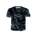 Summer Cool 3D Skull Print Round Neck Short Sleeve Black Tee For Men