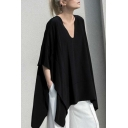 Womens Street Fashion Cool Basic Solid Color V-Neck Batwing Sleeve Black Oversized T-Shirt