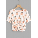 Summer Trendy Allover Pineapple Printed Round Neck Short Sleeve Twist T-Shirt