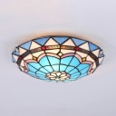 Stained Glass Dome Ceiling Light 2/3/4 Lights Tiffany Style Flush Light for Bedroom