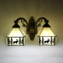 Rustic House Shape Wall Light with Deer Decoration 2 Lights Glass Sconce Light for Kitchen
