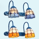 Tiffany Style Conical Sconce Light Glass 2 Lights Blue/Yellow Wall Light for Stair Hallway