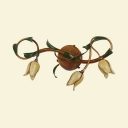 Foyer Hallway Flower Sconce Light with Leaf Metal 3 Lights Rustic Style Aged Brass Wall Lamp