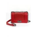 Trendy Snakeskin Pattern Quilted Crossbody Bag with Chain Strap 22*9*14 CM