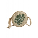 Summer Fashion Leaf Pattern Straw Fringe Round Crossbody Bag 19*7*19 CM