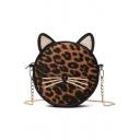 Lovely Cat Shape Leopard Pattern Chain Strap Round Crossbody Bag 17*6*21 CM