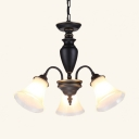 Vintage Style Bell Chandelier Frosted Glass 3/6/8 Lights Black Pendant Lighting for Living Room