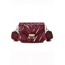Popular Solid Color Striped Wide Strap Quilted Crossbody Bag 19*8*14 CM