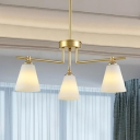Contemporary Tapered Shade Chandelier Frosted Glass 3/5/8 Lights Gold Suspension Light for Foyer