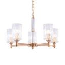 Gold Cylinder Shade Pendant Light 5/6/8 Lights Elegant Hammered Glass Chandelier for Bedroom