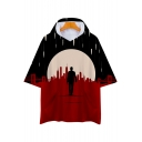 Cool Figure 3D Printed Unisex Loose Casual Short Sleeve Hooded T-Shirt