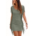 Women's Hot Fashion Plain Printed Round Neck Short Sleeve Tassel Hem Mini Tank Dress