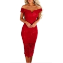 Womens New Trendy Off The Shoulder Short Sleeve Plain Print Hollow Out Lace Hem Midi Dress
